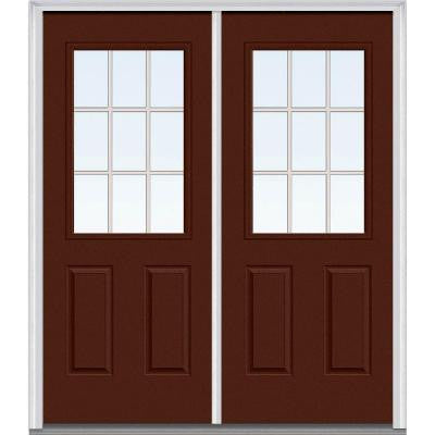 72 in. x 80 in. Classic Clear Glass GBG 1/2-Lite Painted Fiberglass Smooth Double Prehung Front Door