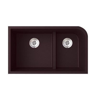 Undermount Granite 21 in. Low Divide Double Bowl Kitchen Sink in Espresso
