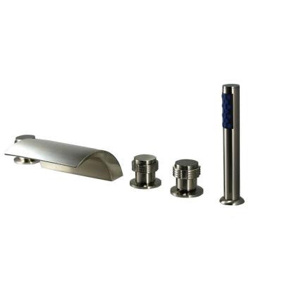 2-Handle Deck-Mount Roman Tub Faucet with Handshower in Brushed Nickel