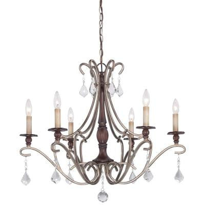 Gwendolyn Place 6-Light Dark Rubbed Sienna with Aged Silver Chandelier