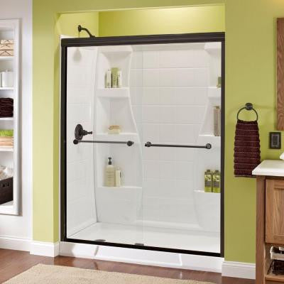 Crestfield 59-3/8 in. x 70 in. Semi-Framed Bypass Sliding Shower Door in Oil Rubbed Bronze with Clear Glass