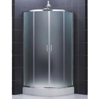 Prime 31-3/8 in. x 31-3/8 in. x 72 in. Framed Sliding Shower Enclosure in Chrome with Shower Base and Back Walls
