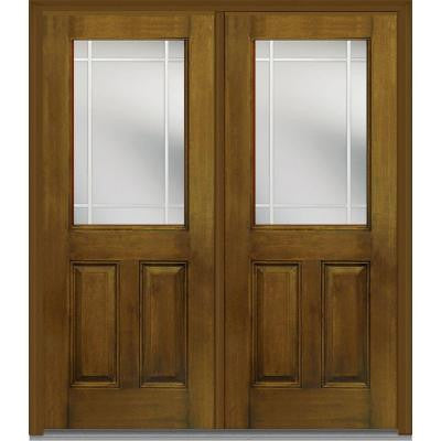72 in. x 80 in. Classic Clear Glass PIM 1/2 Lite Finished Mahogany Fiberglass Double Prehung Front Door