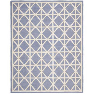 Dhurries Purple/Ivory 9 ft. x 12 ft. Area Rug