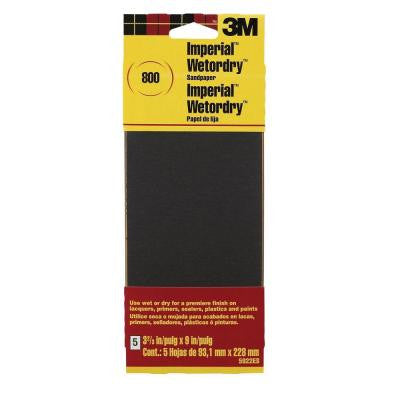 3-2/3 in. x 9 in. Imperial Wetordry 800-Grit Sandpaper Sheets (5 Sheets-Pack)