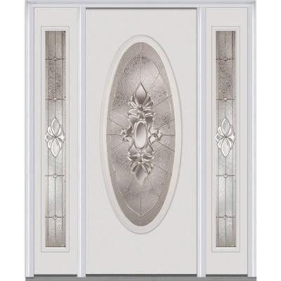 60 in. x 80 in. Heirloom Master Deco Glass Full Oval Lite Painted Fiberglass Smooth Prehung Front Door with Sidelites