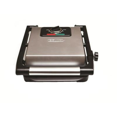 9-1/2 in. x 8-1/4 in. Panini Maker in Polished Stainless Steel