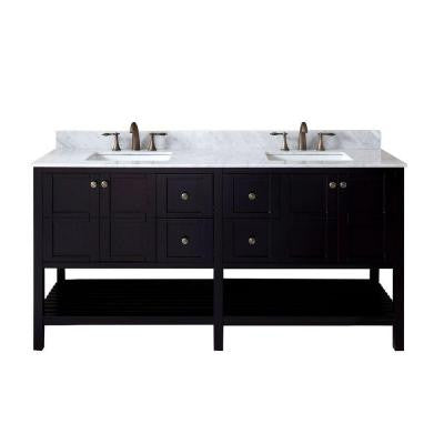 Winterfell 72 in. W x 22 in. D x 36 in. H Vanity in Espresso with Marble Vanity Top in White and Round Basin