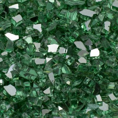 1/2 in., 25 lb. Medium Green Reflective Tempered Fire Glass