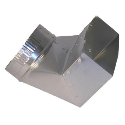 12 in. x 3.25 in. x 8 in. Galvanized Sheet Metal Range Hood 90° Boot Adapter