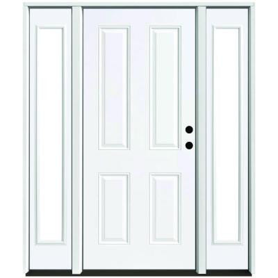 60 in. x 80 in. 4-Panel Primed White Left-Hand Steel Prehung Front Door with 10 in. Clear Glass Sidelites 4 in. Wall