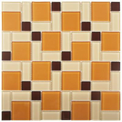 Spectrum Block Suntan 11-3/4 in. x 11-3/4 in. x 5 mm Glass Mosaic Wall Tile