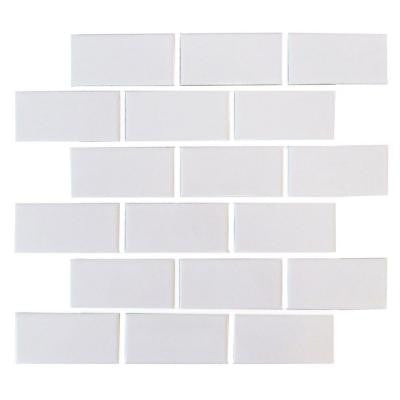 Bright Snow White Brick 12 in. x 12 in. x 6 mm Ceramic Mosaic Tile