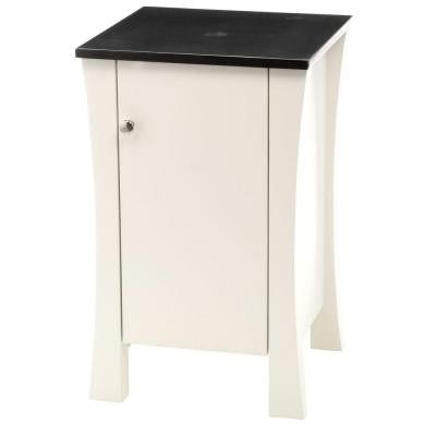 18 in. W x 18 in. D x 29 in. H White Vanity Storage Cabinet with Single Hole Faucet Drilling Granite Vanity Top in Black