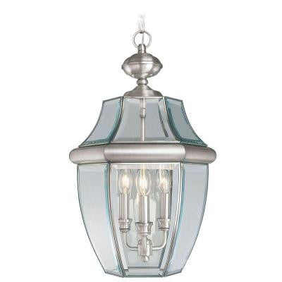 Providence 3-Light Outdoor Brushed Nickel Hanging Pendant