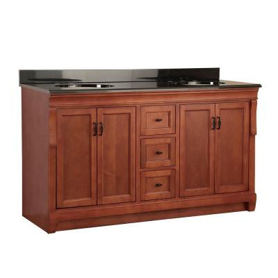 Naples 61 in. W x 22 in. D Vanity in Warm Cinnamon with Colorpoint Vanity Top in Black with Double Sink Basins