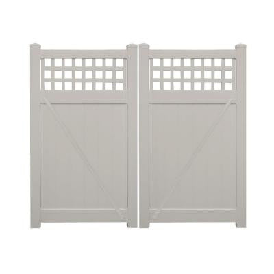 Tacoma 7.4 ft. x 6 ft. Tan Vinyl Privacy Double Fence Gate