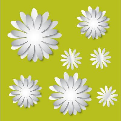 13 in. x 13 in. 3D Flowers Mirror Art Decal