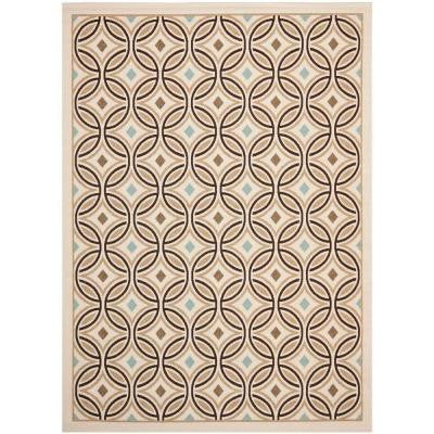 Veranda Cream/Chocolate 8 ft. x 11 ft. 2 in. Indoor/Outdoor Area Rug