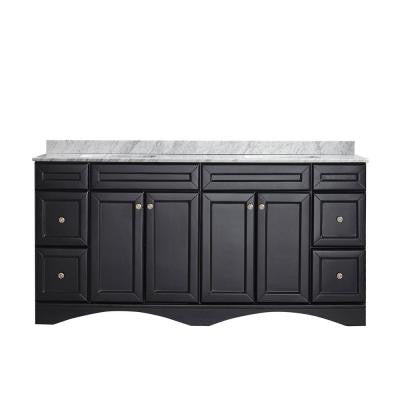 Naples 72 in. W x 22 in. D x 35 in. H Vanity in Espresso with Marble Vanity Top in White with Basin