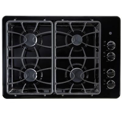 30 in. Gas Cooktop in Black with 4 Burners including Precise Simmer Burner