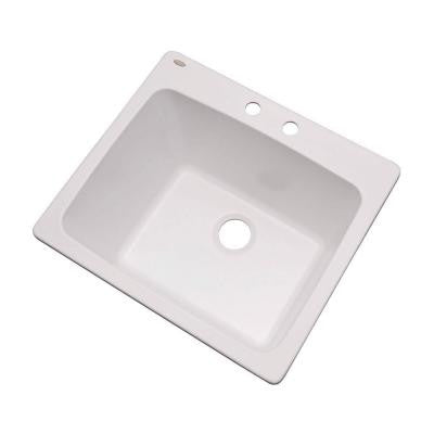 Wakefield Drop-In Natural Stone Composite 25 in. 2-Hole Single Bowl Utility Sink in White