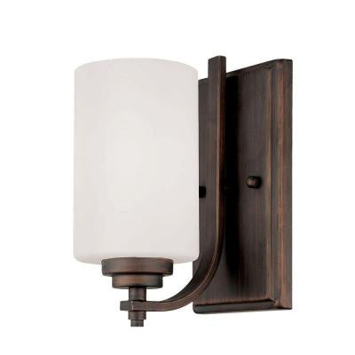 Rubbed Bronze Wall Sconce with Etched White Glass