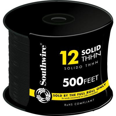 500 ft. 12/1 Solid THHN Wire - Black