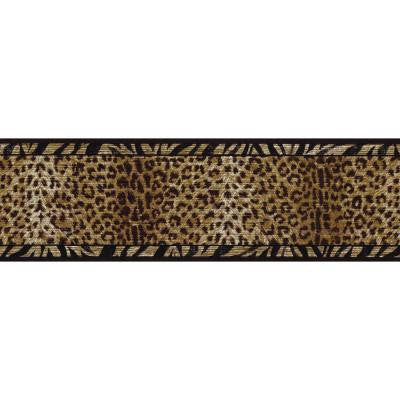 6.75 in. x 15 ft. Black and Gold Animal Print Border