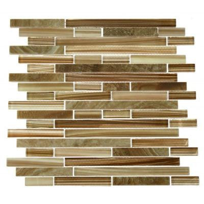 Temple Latte Foam 12 in. x 12 in. x 8 mm Glass and Marble Mosaic Floor and Wall Tile
