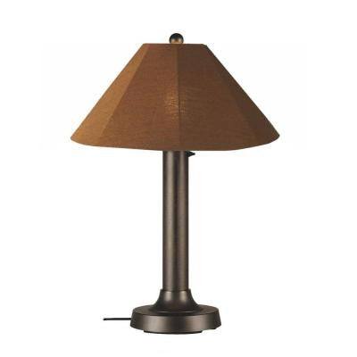 Catalina 34 in. Outdoor Bronze Table Lamp with Teak Shade