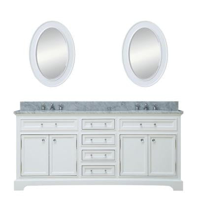 60 in. W x 21.5 in. D Vanity in White with Marble Vanity Top in Carrara White and Mirror