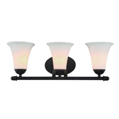 3-Light Oil-Rubbed Bronze Bath Bar Light with Scavo Frosted Glass