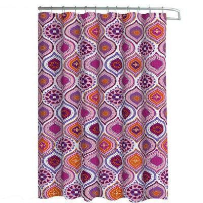 Oxford Weave Textured 70 in. W x 72 in. L Shower Curtain with Metal Roller Hooks in Olina Pink