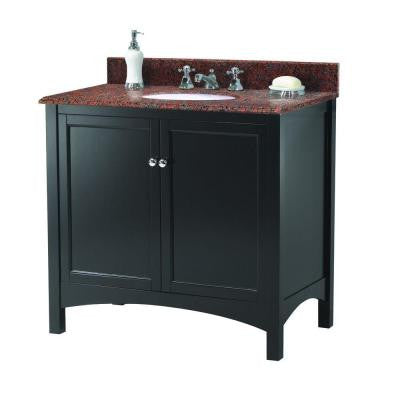 Haven 37 in. W x 22 in. D Vanity in Espresso with Granite Vanity Top in Terra Cotta with White Basin
