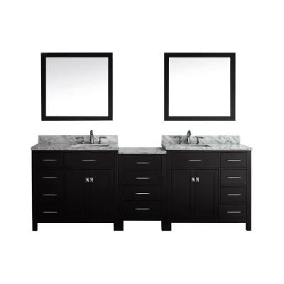 Caroline Parkway 93 in. Double Vanity in Espresso with Marble Vanity Top in Italian Carrara White and Mirror