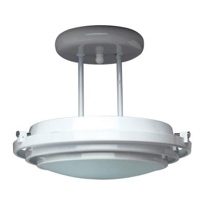 1-Light Black Ceiling Semi-Flush Mount Light with Acid Frost Glass