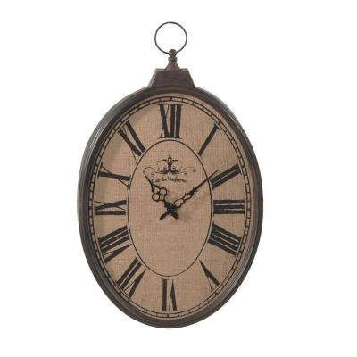 Sundry 23 in. x 16 in. Burlap Pocket Watch Wall Clock