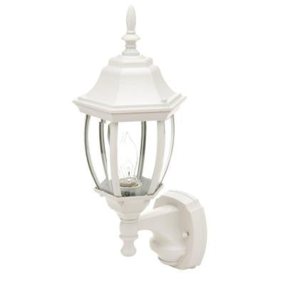 17.7 in. White Motion Activated Outdoor Die-Cast Coach Lantern
