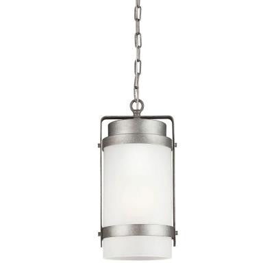 Bucktown 1-Light Outdoor Weathered Pewter Hanging Pendant with Satin Etched Glass