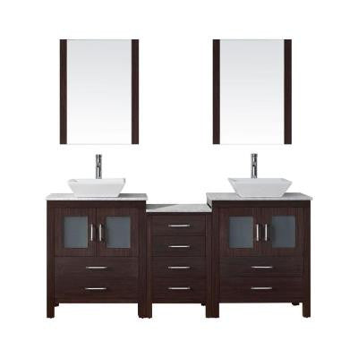 Dior 66 in. Double Vanity in Espresso with Marble Vanity Top in White and Mirrors
