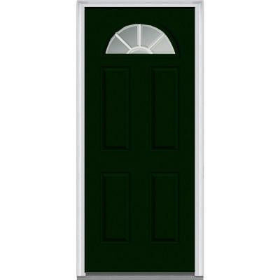 30 in. x 80 in. Classic Clear Glass GBG 1/4 Lite Painted Builder's Choice Steel Prehung Front Door