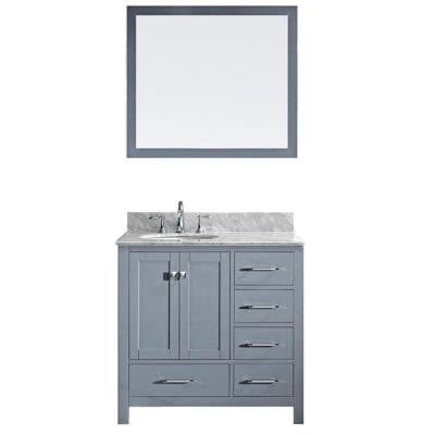 Caroline Avenue 36.8 in. Single Vanity in Grey with Marble Vanity Top in Italian Carrara White and Mirror