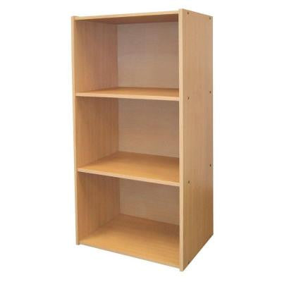 3-Shelf Open Bookcase in Natural Finish