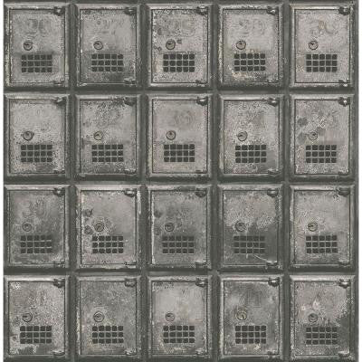 8 in. W x 10 in. H Charcoal Vintage P.O. Boxes Distressed Metal Wallpaper Sample