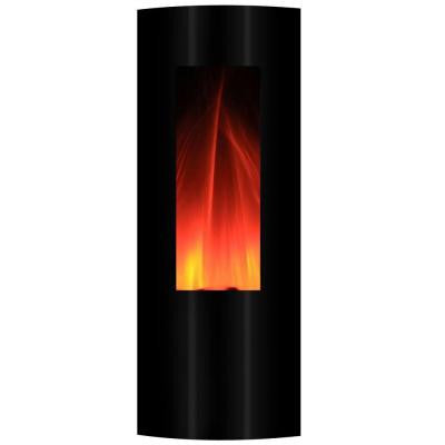 Symphonic Tower 16 in. Wall-Mount Electric Fireplace in Black with USB/MP3 Connection