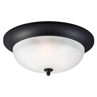 Humboldt Park 3-Light Black Outdoor Ceiling Flush Mount with Satin Etched Glass