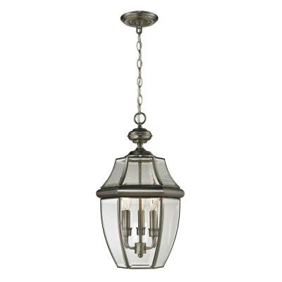 Ashford 3-Light Antique Nickel Outdoor Pendant