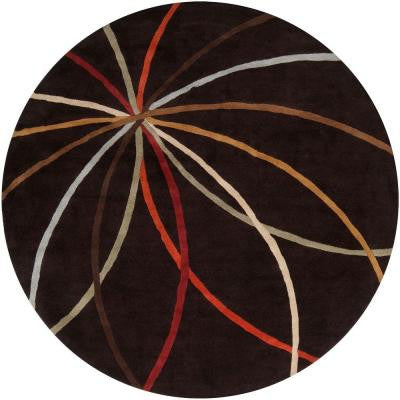 Hughson Chocolate 4 ft. Round Area Rug