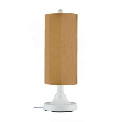 Coronado 15 in. Outdoor White Table Lamp with Straw Linen Cylinder Shade